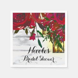 Romantic Red Watercolor Roses & Lantern Wedding Paper Napkins