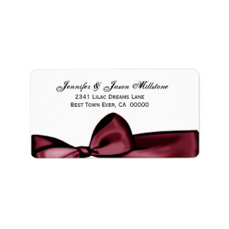 Romantic Red Wine Bow Wedding Label