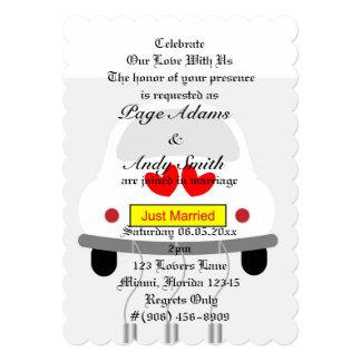 "Romantic Retro Car Wedding Bridal Shower 5"" X 7"" Invitation Card"
