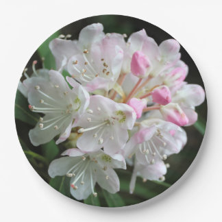 """""""Romantic Rhododendron"""" Pink  Flower Blossom Paper Plate"""