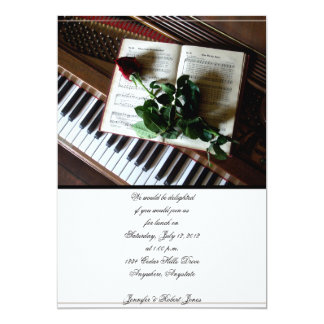 Romantic Rose and Piano Party Invitation