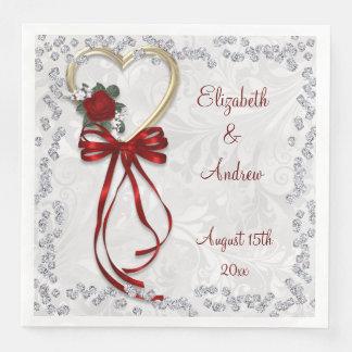 Romantic Rose, Diamonds & Red Ribbon Engagement Paper Dinner Napkin