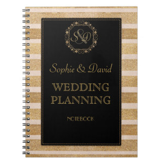Romantic Rose Gold Fall Wreath Wedding Planner Spiral Notebook
