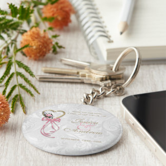 Romantic Rose, Gold Heart & Pink Ribbon Basic Round Button Keychain