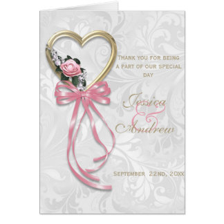 Romantic Rose, Gold Heart & Pink Ribbon Card