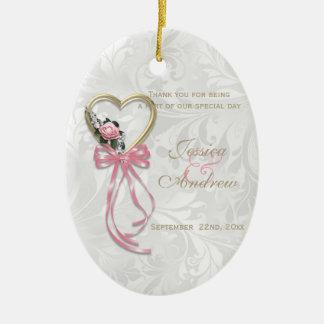 Romantic Rose, Gold Heart & Pink Ribbon Ceramic Oval Ornament