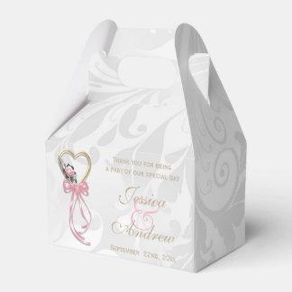 Romantic Rose, Gold Heart & Pink Ribbon Favor Box