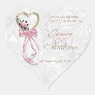 Romantic Rose, Gold Heart & Pink Ribbon Heart Sticker