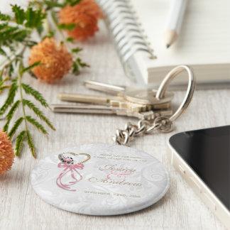 Romantic Rose, Gold Heart & Pink Ribbon Keychain