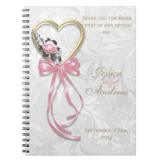 Romantic Rose, Gold Heart & Pink Ribbon Notebooks