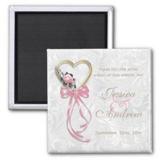 Romantic Rose, Gold Heart & Pink Ribbon Square Magnet