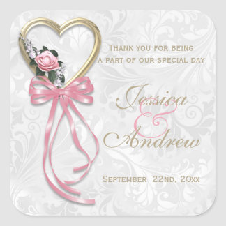 Romantic Rose, Gold Heart & Pink Ribbon Square Sticker
