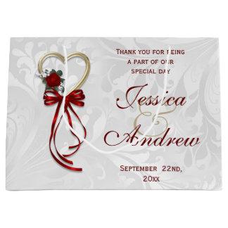 Romantic Rose, Gold Heart & Red Ribbon Large Gift Bag