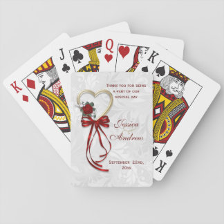 Romantic Rose, Gold Heart & Red Ribbon Playing Cards