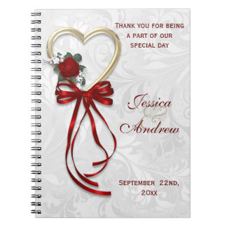 Romantic Rose, Gold Heart & Red Ribbon Spiral Notebooks
