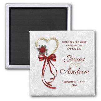 Romantic Rose, Gold Heart & Red Ribbon Square Magnet