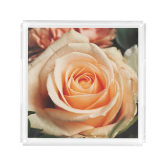 Romantic Rose Pink Rose Acrylic Tray