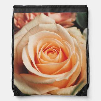 Romantic Rose Pink Rose Drawstring Bag
