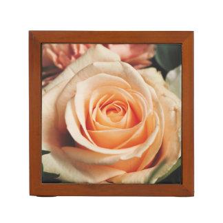 Romantic Rose Pink Roses Floral Flower Desk Organizer