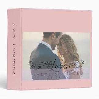 Romantic Rose Quartz Love Calligraphy Wedding 3 Ring Binder