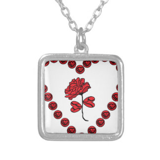 romantic rose silver plated necklace