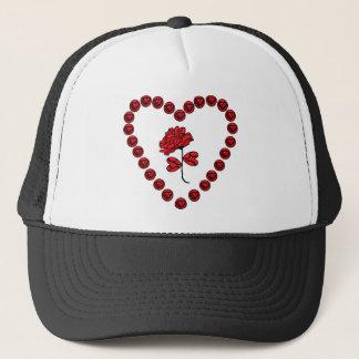 romantic rose trucker hat