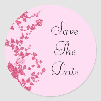 Romantic Rose Vines Save The Date Wedding Stickers