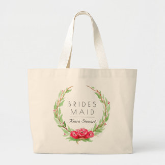 Romantic Rose Watercolor | Bridesmaid Large Tote Bag