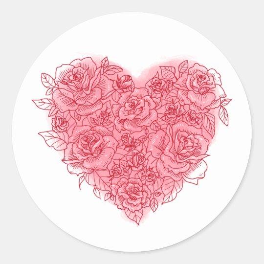 Romantic Rose & Watercolor Heart Stickers