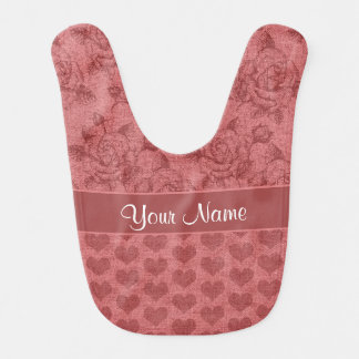 Romantic Roses and Hearts Canvas Effect Bib
