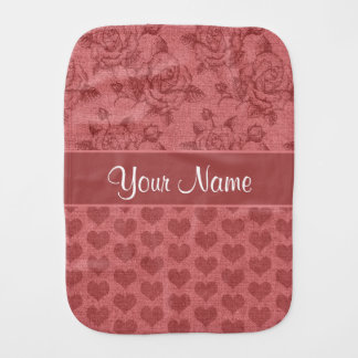Romantic Roses and Hearts Canvas Effect Burp Cloth