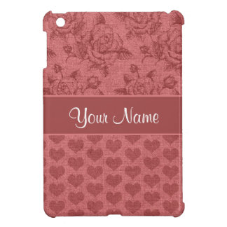 Romantic Roses and Hearts Canvas Effect Case For The iPad Mini