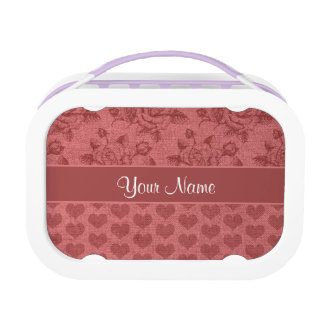 Romantic Roses and Hearts Canvas Effect Lunch Box