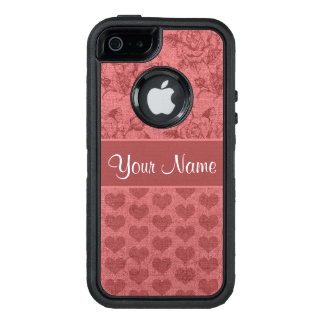 Romantic Roses and Hearts Canvas Effect OtterBox Defender iPhone Case