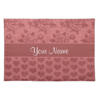 Romantic Roses and Hearts Canvas Effect Placemat