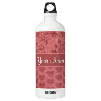Romantic Roses and Hearts Canvas Effect Water Bottle