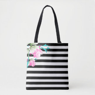 Romantic Roses and Stripes Tote