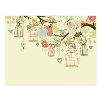 Romantic Roses, birds, birdcages, Floral Vintage Postcard