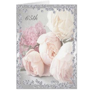Romantic Roses & Diamonds 65th Birthday Greeting Card