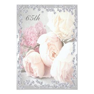 "Romantic Roses & Diamonds 65th Birthday Party 5"" X 7"" Invitation Card"