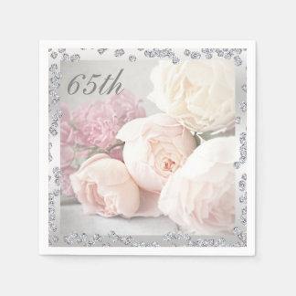 Romantic Roses & Diamonds 65th Birthday Serviettes Paper Napkin