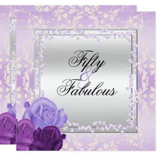 Romantic Roses, Diamonds & Damask Fabulous 50 Card