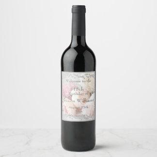 Romantic Roses & Diamonds Welcome Wine Label