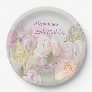 Romantic Roses in Jars 65th Birthday 9 Inch Paper Plate