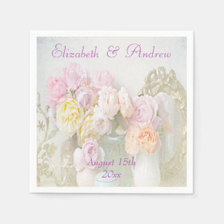 Romantic Roses in Jars Wedding Napkins Paper Napkins