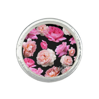 Romantic Roses on Black Sterling Silver Ring