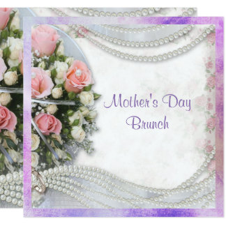 Romantic Roses & Pearls Mother's Day Brunch Card