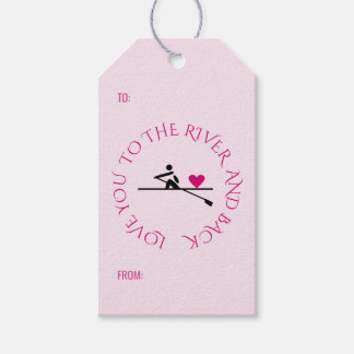 Romantic rower custom text pink hearts gift tags