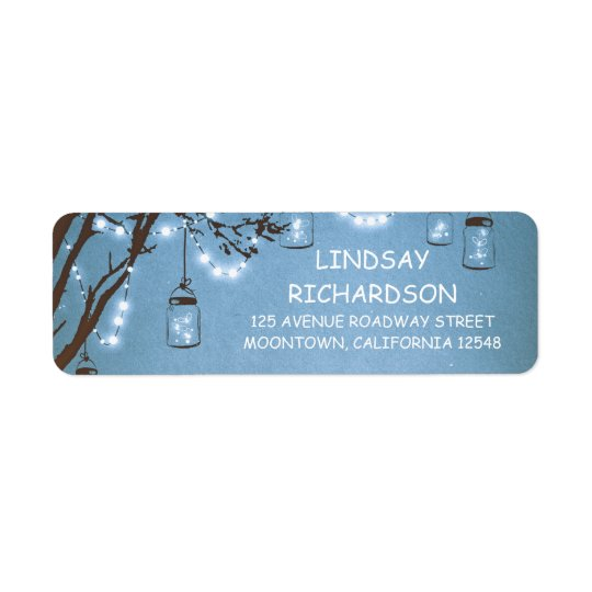Romantic Rustic Fireflies Mason Jars Blue Wedding Return Address Label