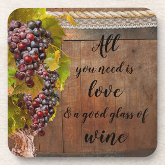 Romantic Rustic Grapes Wine Coasters